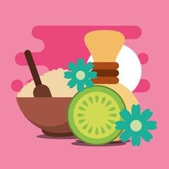 peeling salt hot compress and fruit flowers treatment spa wellness vector illustration