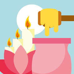 depilatory wax lotus flower and candle spa wellness vector illustration