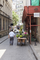 A flower vendor photographed from behind on a street in Istanbul, Turkey.
