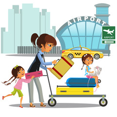 Family woman with girls in taxi waiting transfer to airport. Mom with two children carrying trolley with luggage on city street near building with plane vector illustration