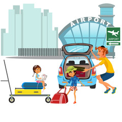 Family man with girls car transfer to airport. Dad with children carrying trolley with luggage on city street near auto ready to travel by airplane flight vector illustration
