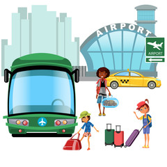 airport transfer, public transport like car and bus, happy family mother with kids kepp his luggage for transportation, taxi waiting for passengers ready to airplane flight vector illustration