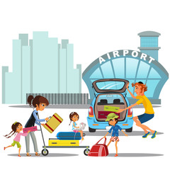 airport transfer, happy family mother with kids kepp his luggage for transportation, Womanan and her baggage came by car and ready to flight, auto transfer to air port building vector illustration