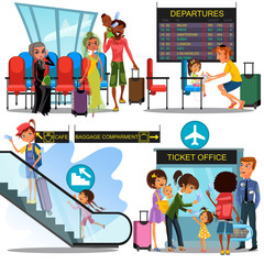 multinational people in airport waiting room, Man child girl in terminal sitting near luggage, family with children boarding plane by gate, Woman climbing escalator with suitcase vector illustration