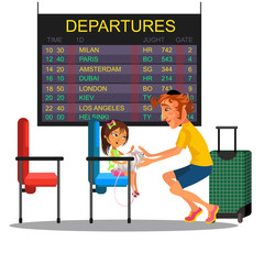 Father with daughter watching schedule of departure aircraft on monitor in airport waiting room, man with girl sitting on chair near suitcase and rest luggage vector illustration on white background