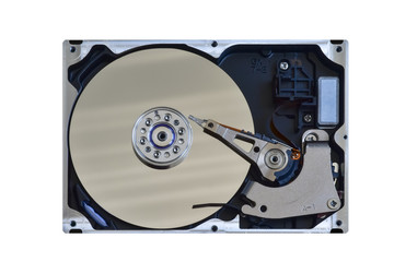 Used open computer hard drive isolated on white background (Industrial, Technology)