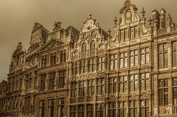 Historic buildings in Main square, Grand Place, iconic city point of Brussels.