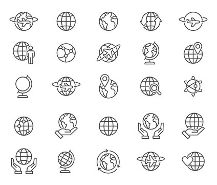 Outline world globes icons set