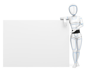 3D Humanoid robot leaning on a blank poster