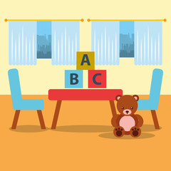 classroom kinder table chair bear teddy blocks and window vector illustration