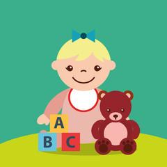 cute little girl and teddy bear blocks alphabet toys vector illustration
