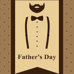Father's Day. Greeting card with a beard and suspenders for Father's Day.