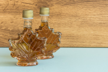Maple syrup in a bottle maple leaf shape. Suovenir from Canada.