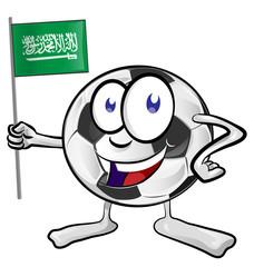 soccer ball cartoon with Saudi Arabia Flag