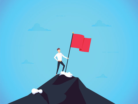 Business leader vector concept with businessman planting flag on top of mountain. Symbol of success achievement, victory