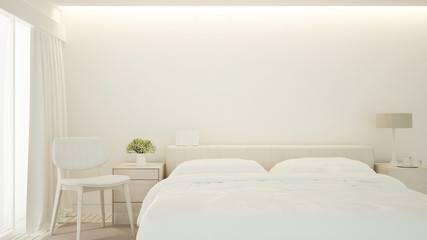 Bedroom and living area in apartment or hotel - Bedroom minimal design for artwork - 3D Rendering