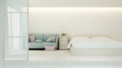 Bedroom minimal design for artwork - Bedroom and living area in apartment or hotel - 3D Rendering