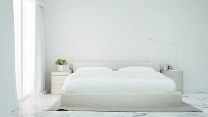 White bedroom simple design for artwork - Bedroom and white marble floor decoration in apartment or hotel - 3D Rendering