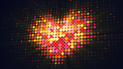 Heart shape of LED dots on digital monitor 3D illustration