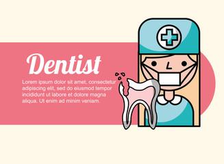 dentist girl broken tooth banner vector illustration