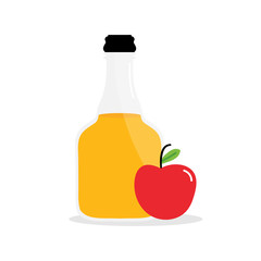 Vector cartoon illustration of apple cider vinegar in glass bottle with apple fruit.