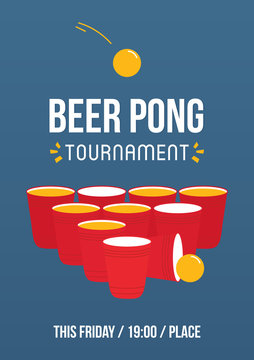 Beer pong tournament, printable A4 size vector poster template, illustration.