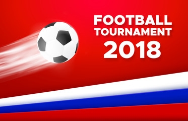 Football sport poster design. Vector background with flying soccer ball and russian national flag colors red, blue, white. 2018 banner template trend
