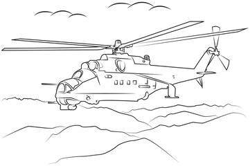 military helicopter flying among the mountains drawn in black outline