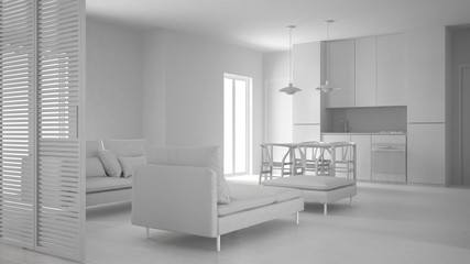 Total white project of modern clean living room with kitchen and dining table, sofa, pouf and chaise longue, minimal interior design
