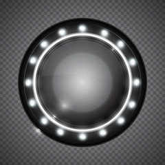 Realistic round glass lamp or car headlight isolated on transparent background. Vector 3d illustration.