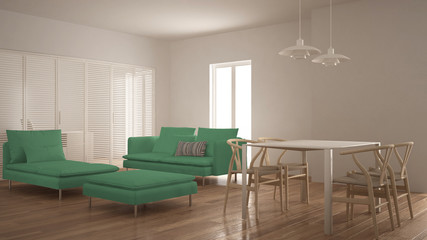 Modern clean living room with sliding door and dining table, sofa, pouf and chaise longue, minimal white and green interior design
