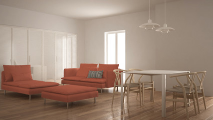 Modern clean living room with sliding door and dining table, sofa, pouf and chaise longue, minimal white and orange interior design