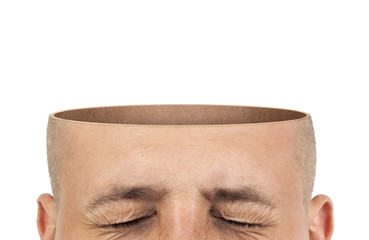 A cut of an empty head on a white background Wall mural