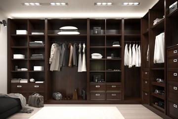 beautiful wood horizontal wardrobe and walk in closet. 3d illustration