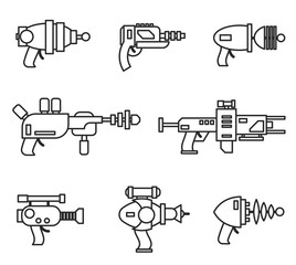 Set of futuristic space weapons , ray guns or laser blasters in cartoon retro style. Vector illustration isolated on white background.