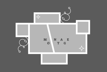 Montage collage photo frame decorative composition blank template, vector design. Wall mural