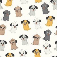 Cute pug vector seamless pattern. Funny dogs.