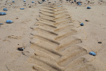 Driving on a sandy beach: tracks left behind