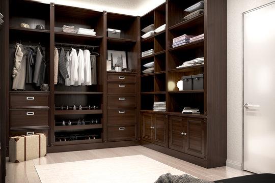 beautiful wood wardrobe and walk in closet. 3d illustration