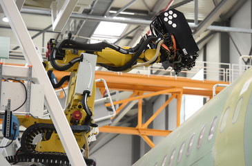"Drilling and filling robot ""Luise"" is seen in a new A320 production line at the Airbus plant in Hamburg"