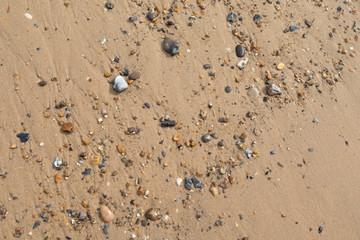 Small stones on a sandy beach