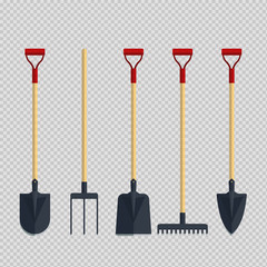 Set pitchfork shovel spade rake flat tool icon logo vector illustration. Farming equipment. Garden instruments on transparent background.