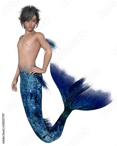 """Young Merman with Dark Blue Fish Tail - fantasy illustration"" Stock photo and royalty-free images on Fotolia.com - Pic 209217797"