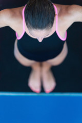 High angle view of female diver