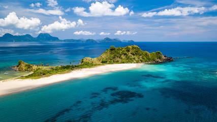 Drone view of beautiful Nacpan Beach in Palawan, El Nido