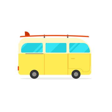 Reto travel camper van with surfboard