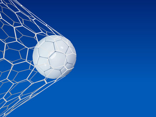 Soccer or Football 3d Ball on blue sky background. Football game match goal moment with realistic ball in the net and place for text