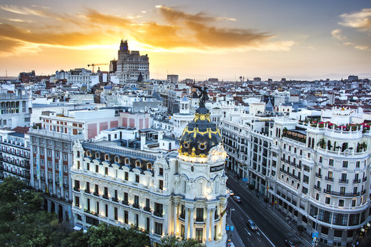 Madrid sunset Spain with a skyline of the city and great colors, madrid landmark, madrid attractions