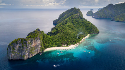 Aerial drone view of Dilumacad (Helicopter) Island in El Nido, Palawan, Philippines Wall mural