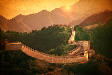 Great Wall of China.Vintage styled design in warm golden sun. Like handpainted old postcards